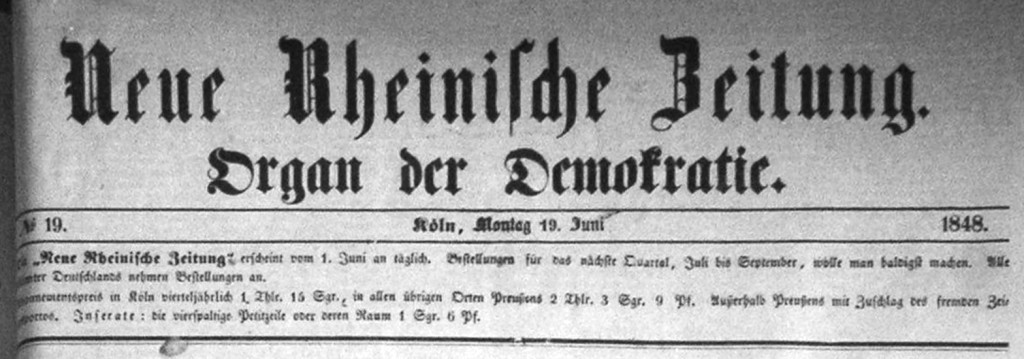 """Le journal de Marx en 1848 : """"Nouvelle Gazette Rhénane, organe de la démocratie"""""""